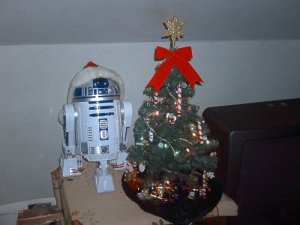 Even our little R2 unit is ready for the holidays.